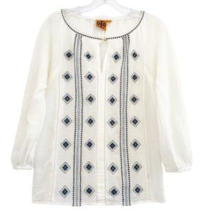 Tory Burch Lucille Embroidered Beaded Ivory Top 6